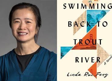 A collage of Professor Linda Rui Feng on the left and the cover of her book, Swimming Back to Trout River, on the right.