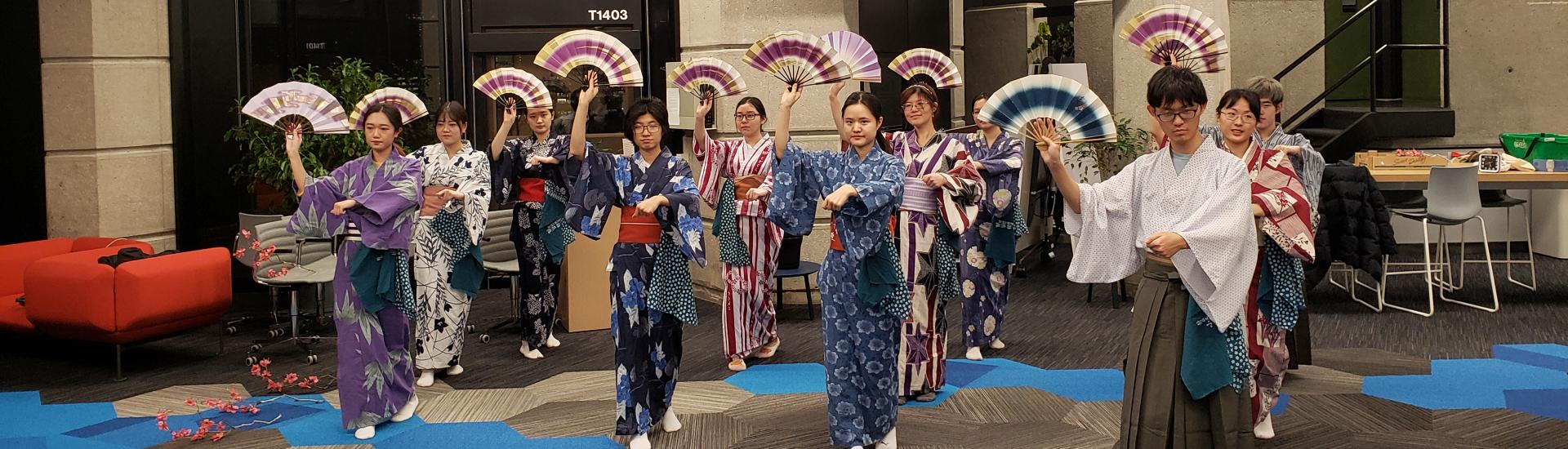 EAS undergraduate students practicing a Japanese dance.